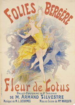 An Art Nouveau poster of the Folies Bergère, a famous dance/cabaret music hall