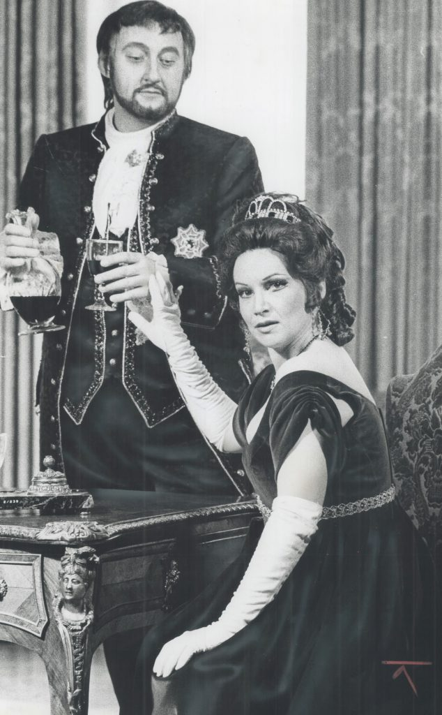 Marisa Galvany and Leif Roar pose for this Tosca publicity still.