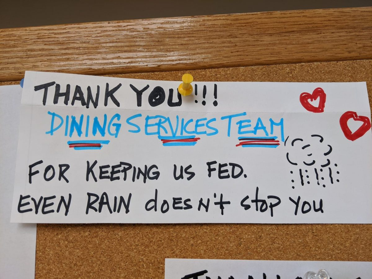 A resident note thanks Dining Services for their hard work.